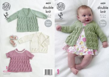 Matinee Coat , Angel Top and Cardigan Knitting Pattern King Cole 4429 , Prem to 12 months
